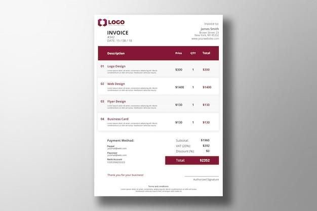 Modern PSD Invoice Template Premium Psd