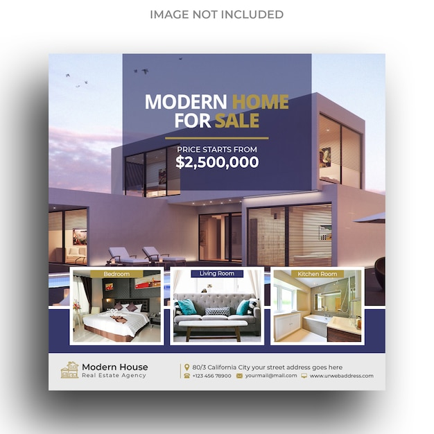 Modern real estate instagram post template or square flyer template Premium Psd