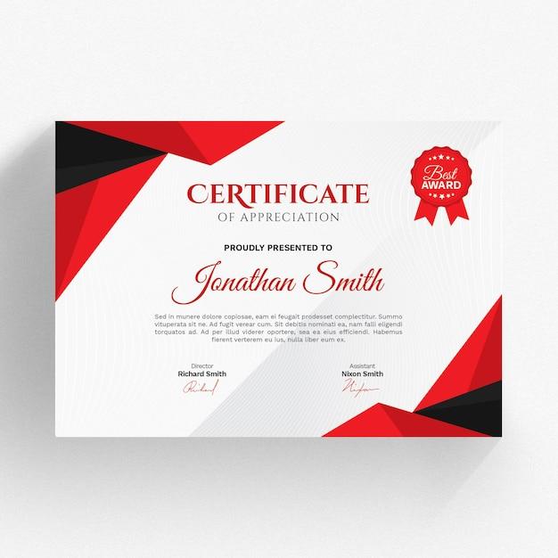 Modern red and black certificate template Premium Psd