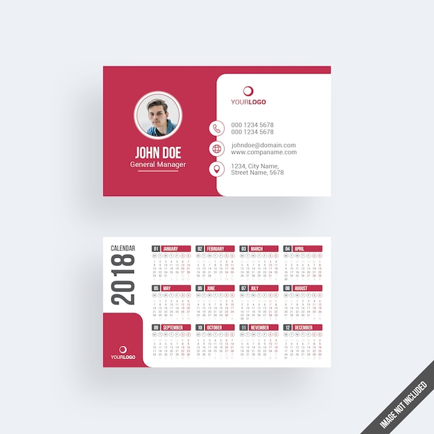 Calendario Business.Modern Red Business Card Mockup With Calendar Psd File