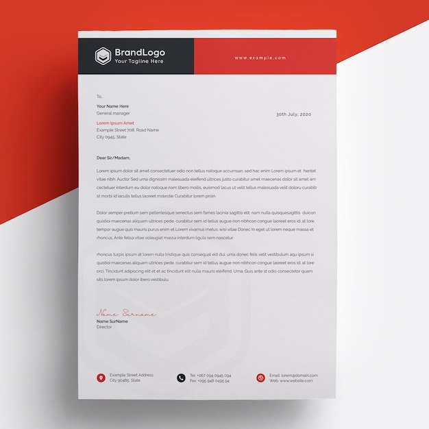 Modern red letterhead template Premium Psd