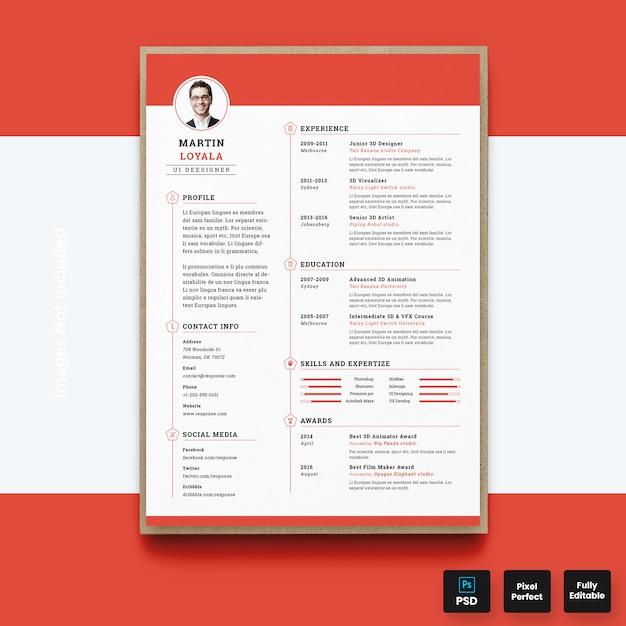 Modern red resume cv template Premium Psd