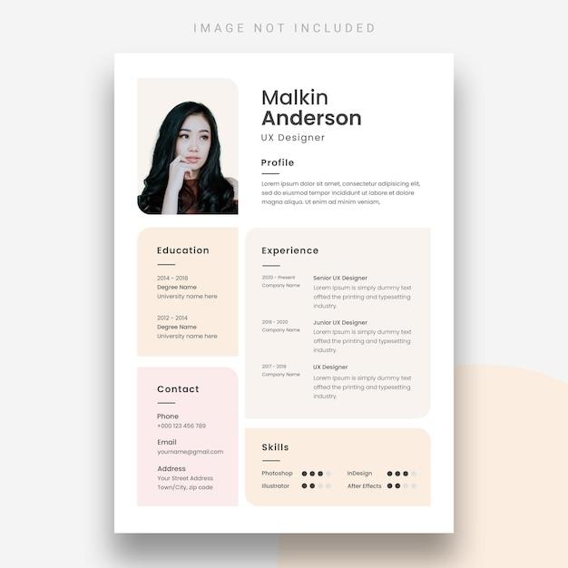 Modern resume or cv design template Free Psd