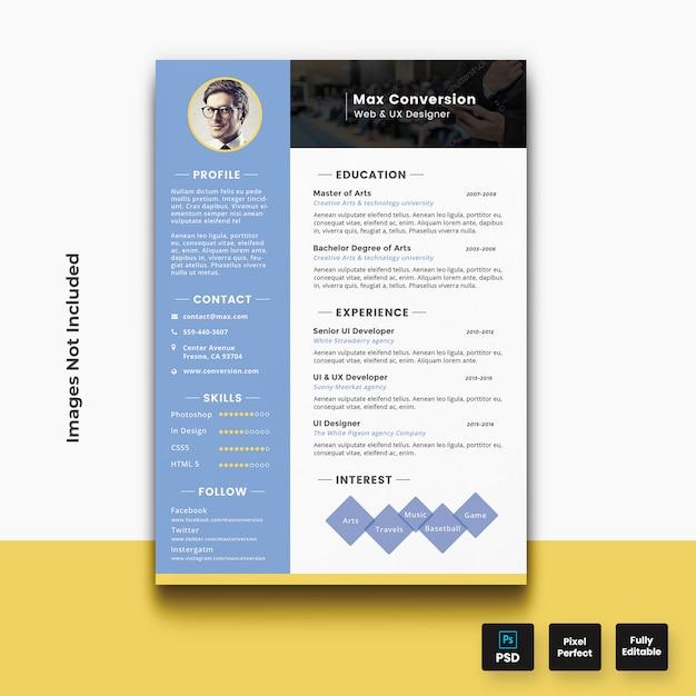 Modern resume cv template | Premium PSD File