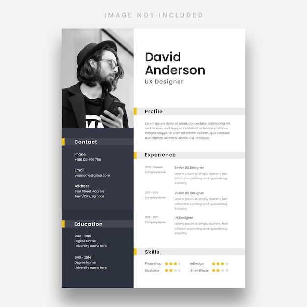 Modern resume template Free Psd