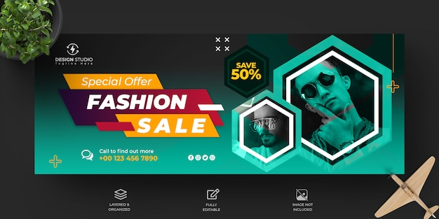 Modern sale facebook timeline cover and banner template design Premium Psd