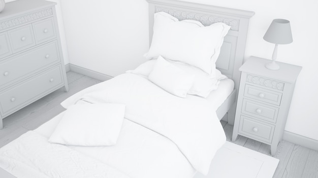 Современный макет односпальной кровати в светлой спальне Бесплатные Psd