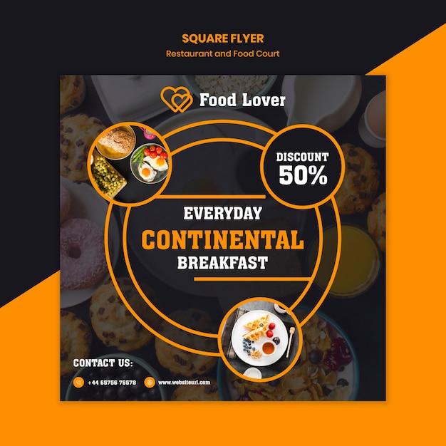 Modern squared flyer template for breakfast restaurant Free Psd