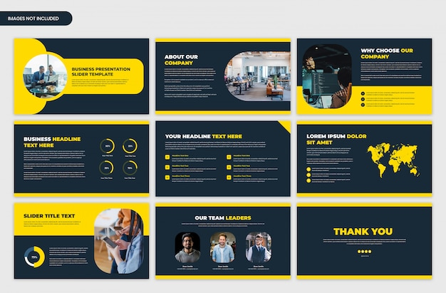 Modern startup and business presentation yellow slider template Premium Psd
