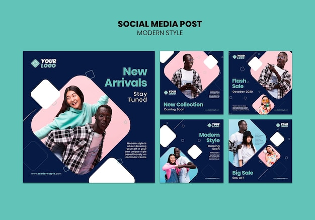 Шаблон сообщения в социальных сетях в современном стиле Premium Psd