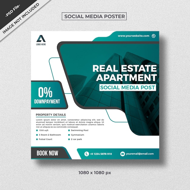 Modern style real estate square flyer template design Premium Psd