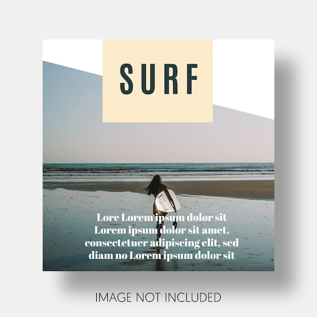 Modern surf template instagram Free Psd