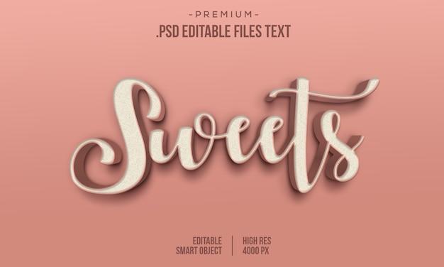 Современная сладкая любовь, 3d градиент, полужирный текстовый стиль, sweets abstract 3d style текстовый эффект, sweets text effect, используя стили слоя Premium Psd