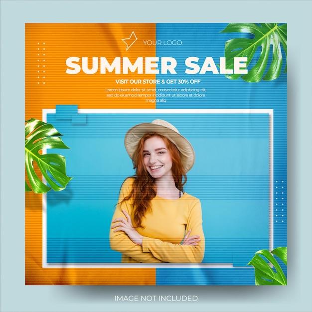 Modern two tone summer fashion sale instagram post feed Premium Psd