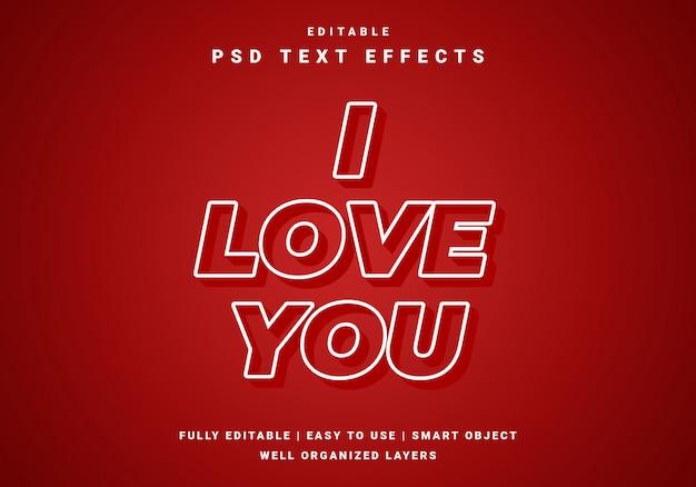 Modern valentine love text effect Premium Psd
