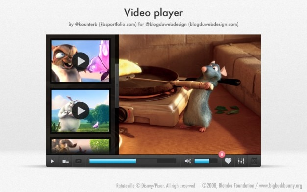 Modern Video Player With Cartoon Animals Free Psd