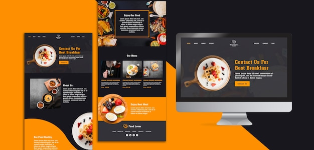 Modern web page template for breakfast restaurant Free Psd