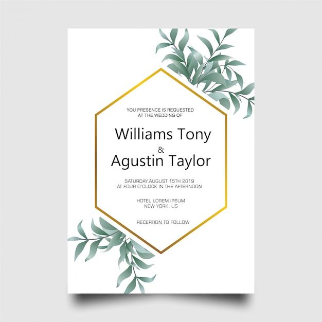 Modern wedding invitation card with green leaf frame Premium Psd