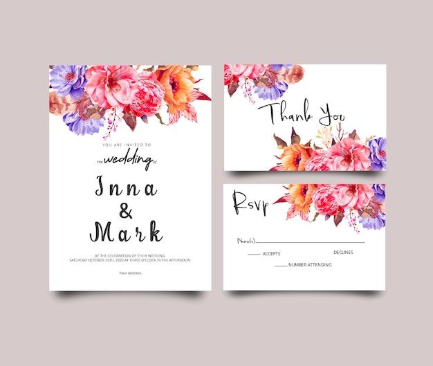 Modern wedding invitation template with floral theme Premium Psd