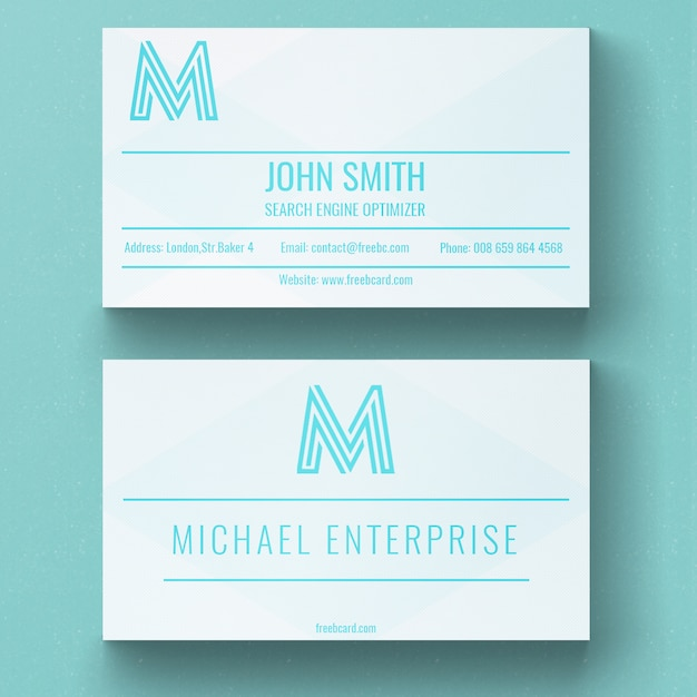 Modern White And Blue Business Card Psd File Free Download