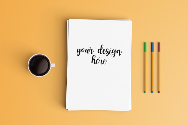 Modern workspace. top view. flat lay style. Premium Psd