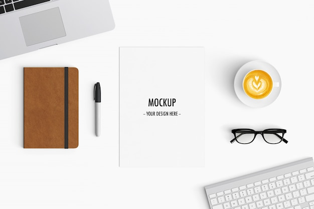 modern workspace. top view. flat lay style Premium Psd