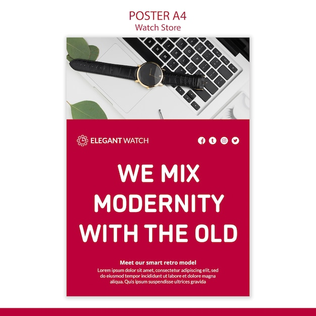 Modernity with old watches poster template Free Psd