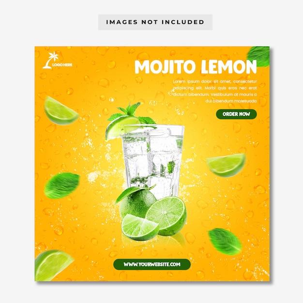 Шаблон меню в социальных сетях mojito lemon Premium Psd