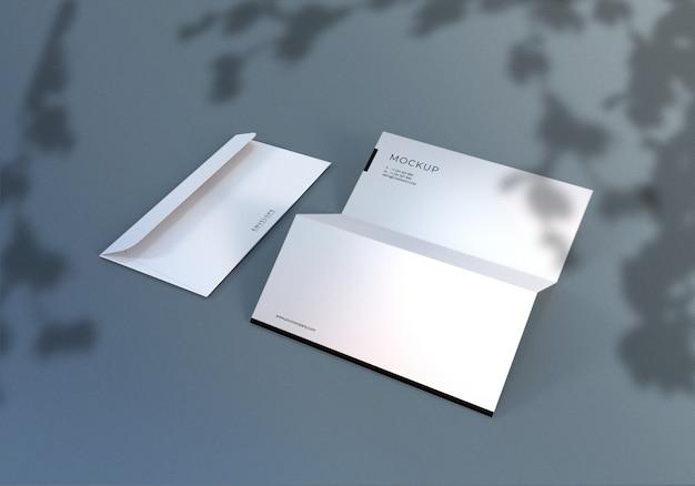 Monarch envelope and letterhead mockup design Premium Psd