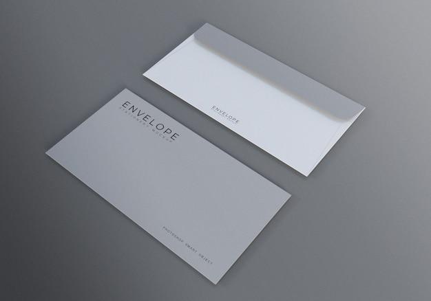 背景が灰色のモナーク封筒モックアップ Premium Psd
