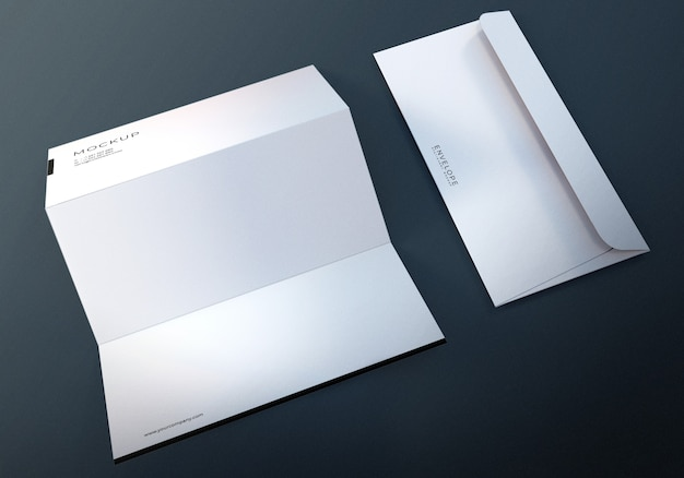 Monarch envelope with letterhead design mockup Premium Psd