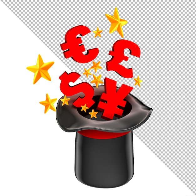 Money fly out of a magician hat business concept 3d illustration Premium Psd