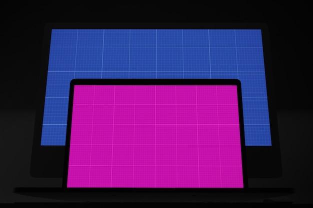컴퓨터 화면 모형, 노트북 및 데스크탑 컴퓨터 모니터링 프리미엄 PSD 파일