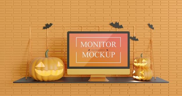 Monitor screen mockup in halloween edition Premium Psd