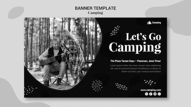 부부와 함께 캠핑을위한 흑백 가로 배너 무료 PSD 파일