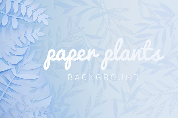 Monochrome light blue paper plant leaves background Free Psd