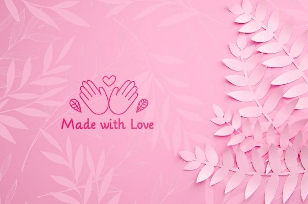 단색 분홍색 종이 식물 잎 배경 무료 PSD 파일
