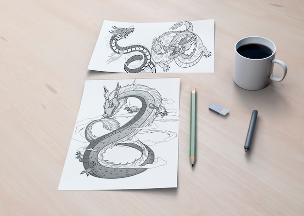 Monochrome snake concept on sheets Free Psd