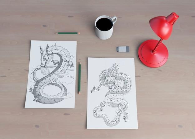 Monochrome snake sketch on sheet Free Psd