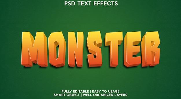 モンスターテキスト効果テンプレート Premium Psd