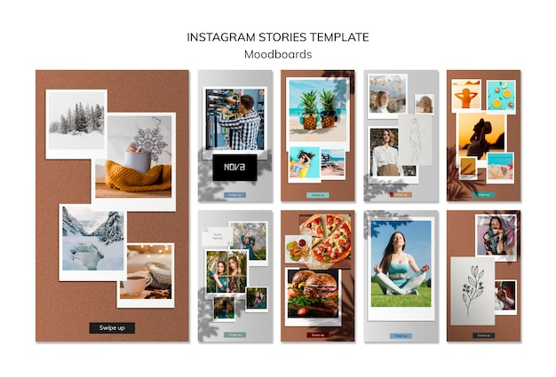 Moodboard instagram stories template Free Psd