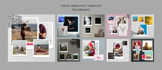 Шаблон сообщений в социальных сетях moodboard Бесплатные Psd