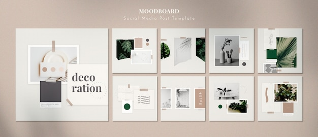 Moodboard with home decorations Free Psd