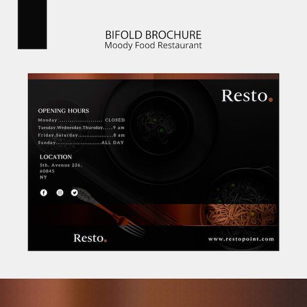 Moody food bifold brochure template Free Psd