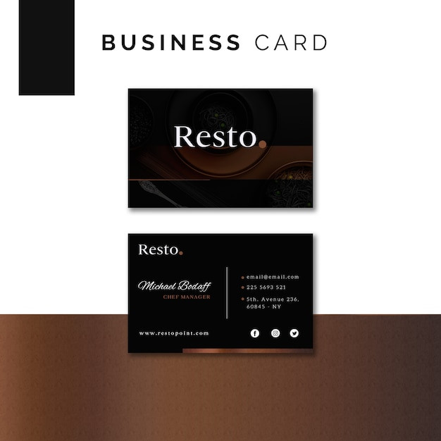 Moody food business card template Free Psd