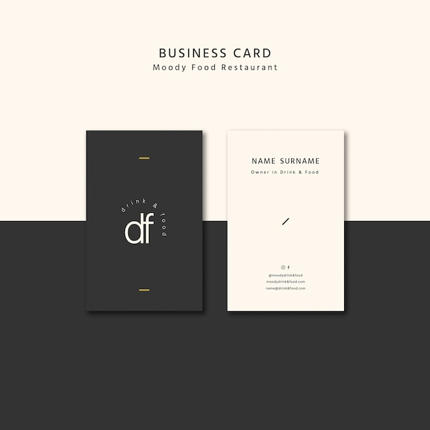 Moody food business card Free Psd