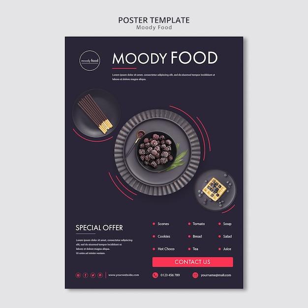 무디 음식 크리 에이 티브 포스터 템플릿 무료 PSD 파일