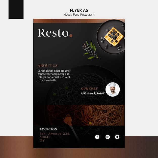 Moody food flyer template PSD file | Free Download