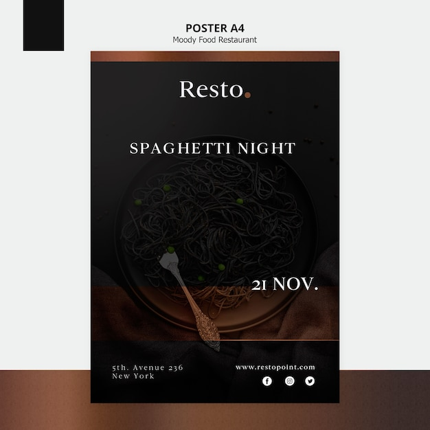 Moody food poster template Free Psd