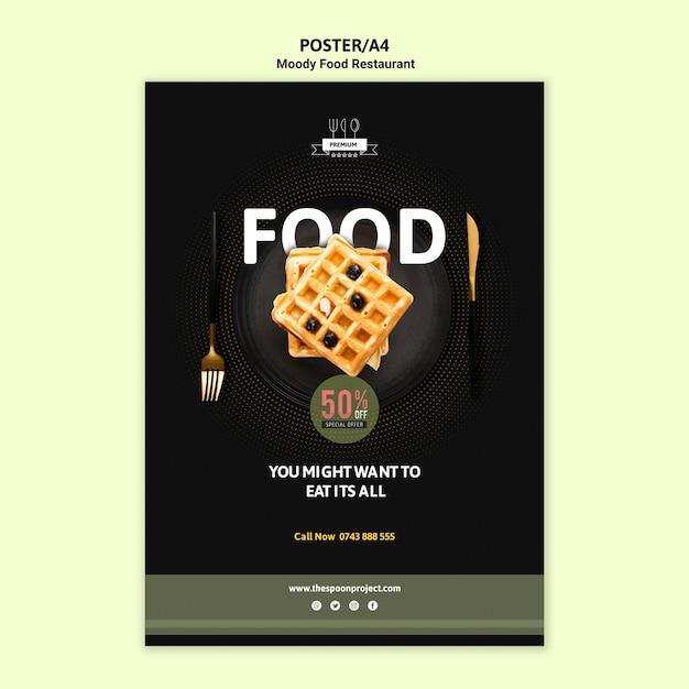 ワッフルと不機嫌そうな食べ物ポスター 無料 Psd
